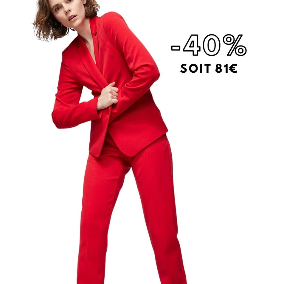 Pantalon rouge en twill bistretch