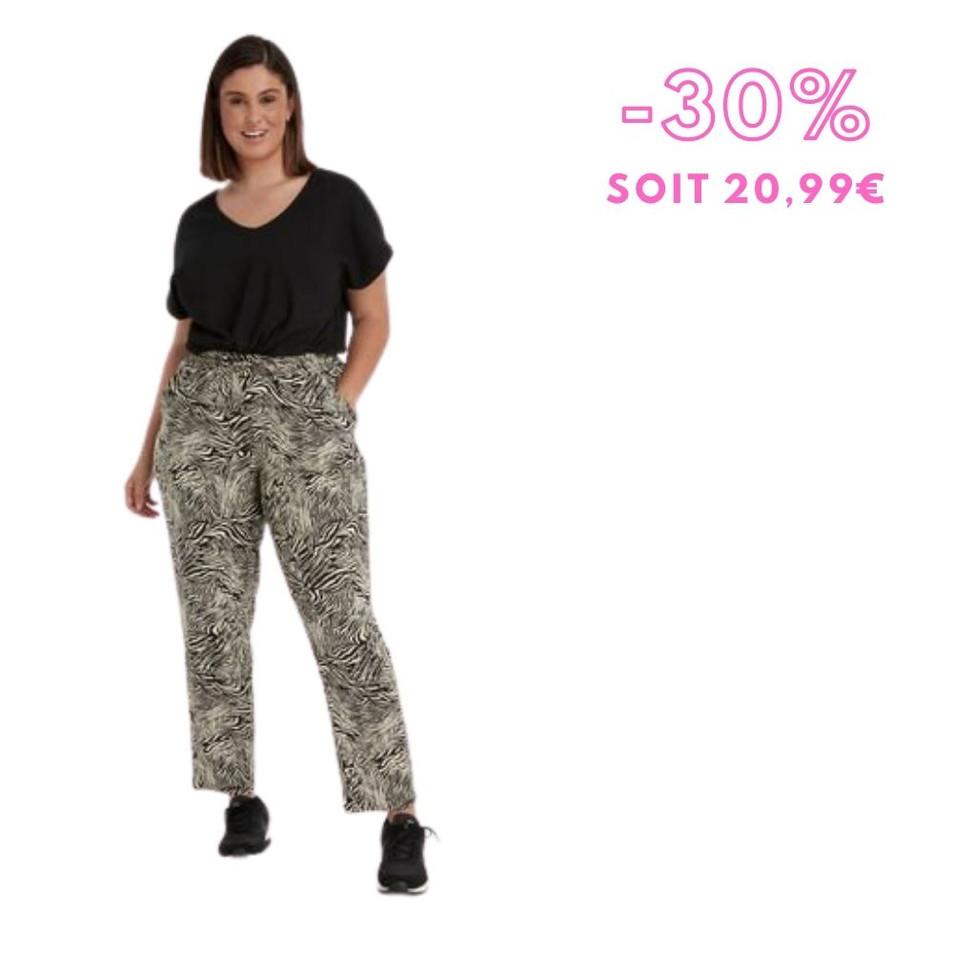MS Mode - Pantalon coupe ample à imprimé