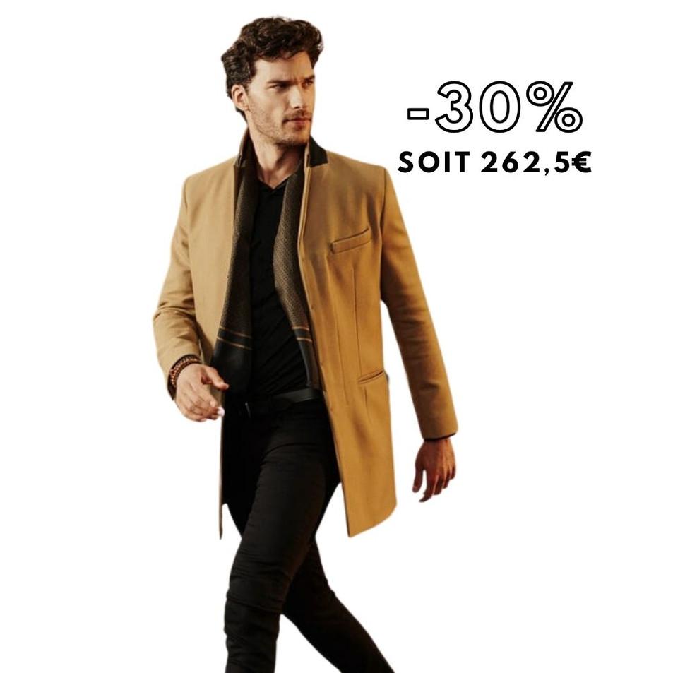 Manteau beige foncé droit Homme