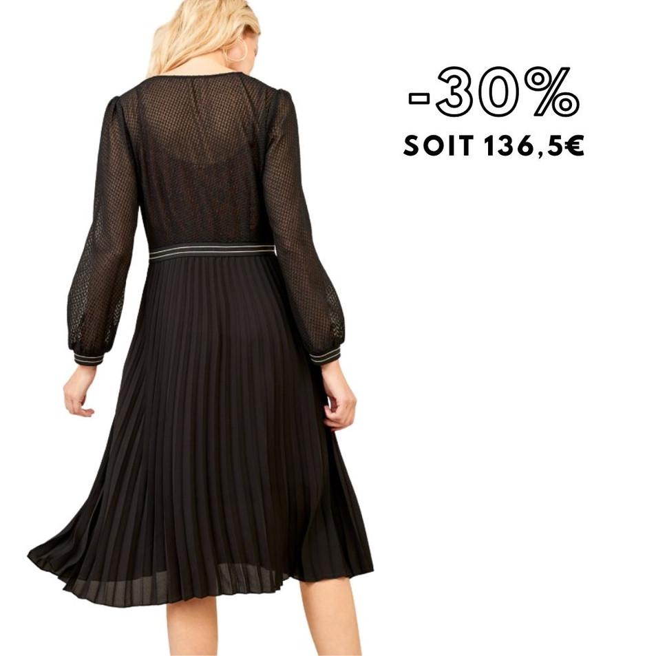 RAISSA - Robe midi noire plissée