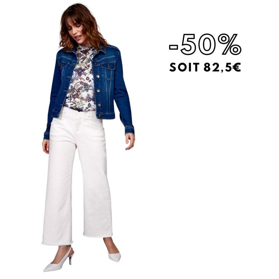 DEMETER - Blouson en jean bleu détail tresses