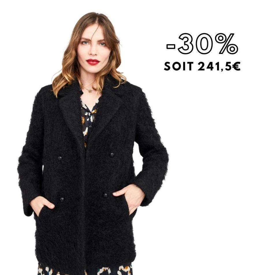 DATCHA - Manteau noir en lainage fantaisie
