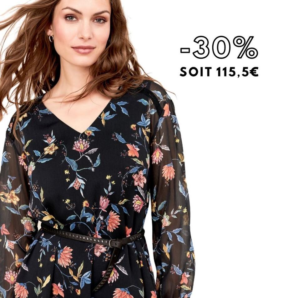 RAKEL - Robe noire à imprimé fleurs gipsy