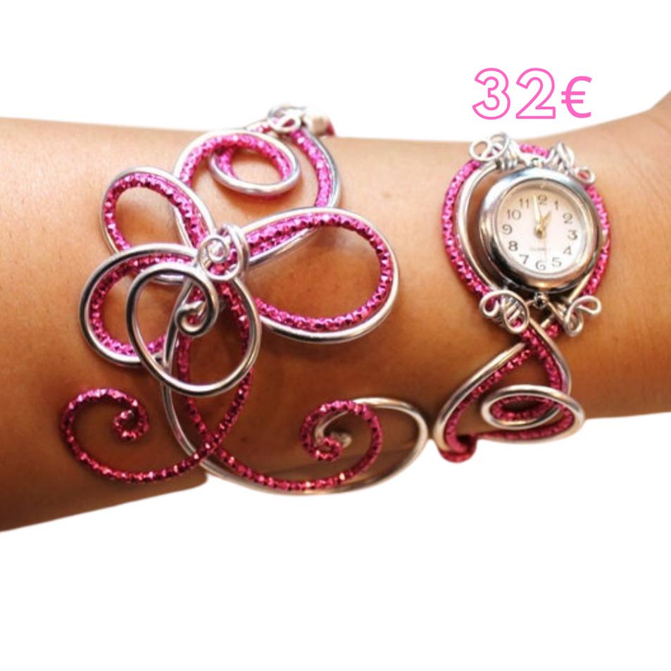 Anna_Zalanya - Bracelet montre- Piéce Unique- Duo d'aluminium argenté rose