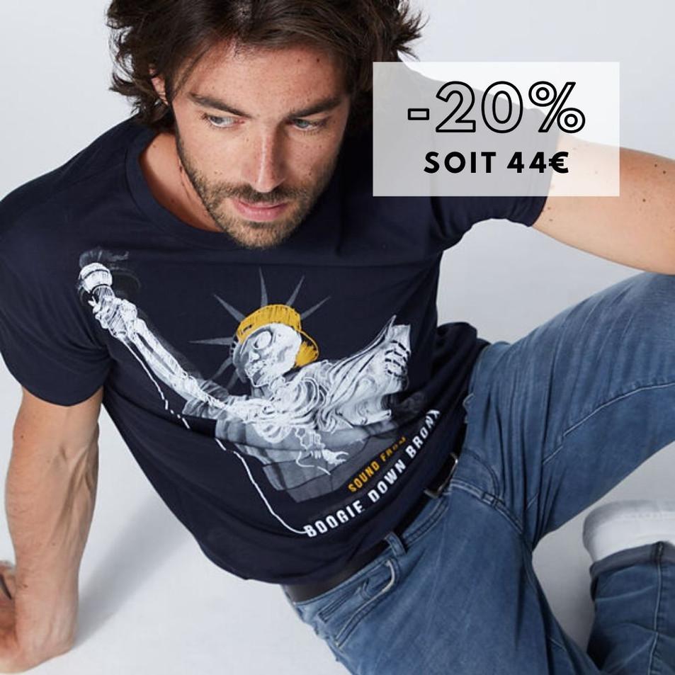 Tee-shirt marine Statue de la Liberté-squelette Homme