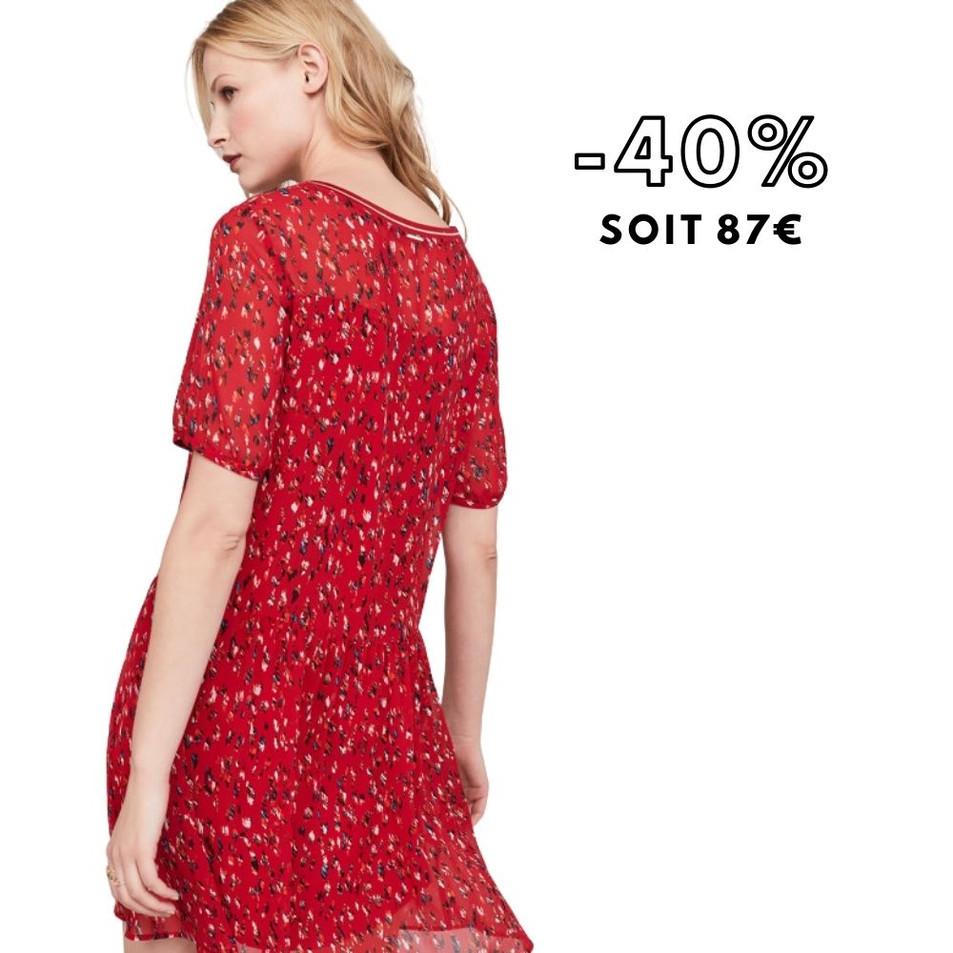 ROBIN - Robe rouge tango à imprimé arty graphique