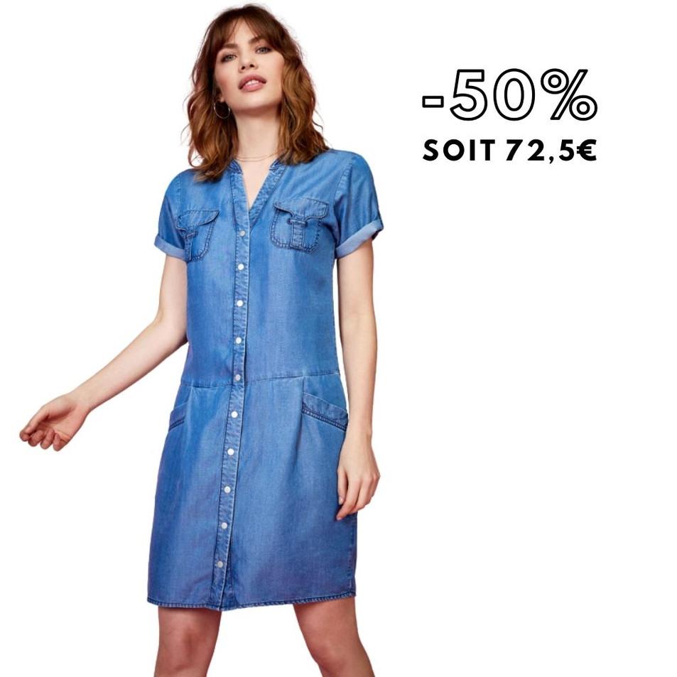 RANKA - Robe bleue esprit denim
