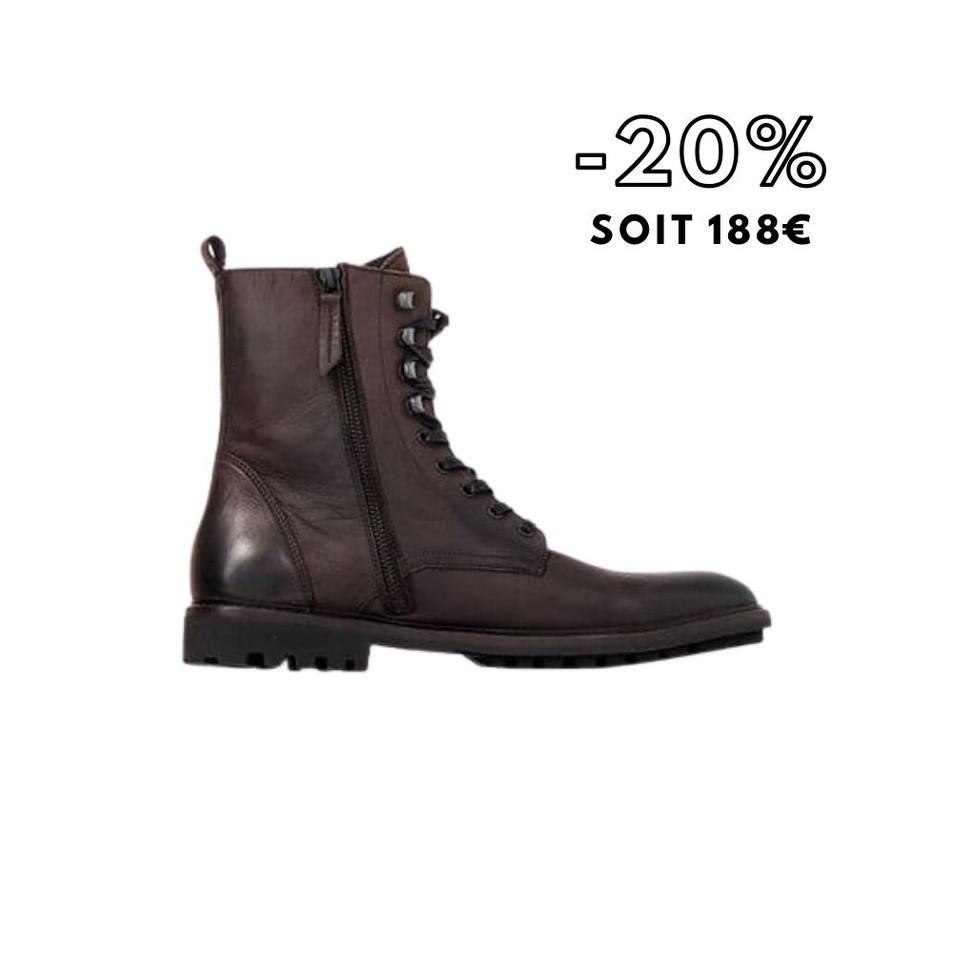 Boots à lacet marron foncé en cuir Homme