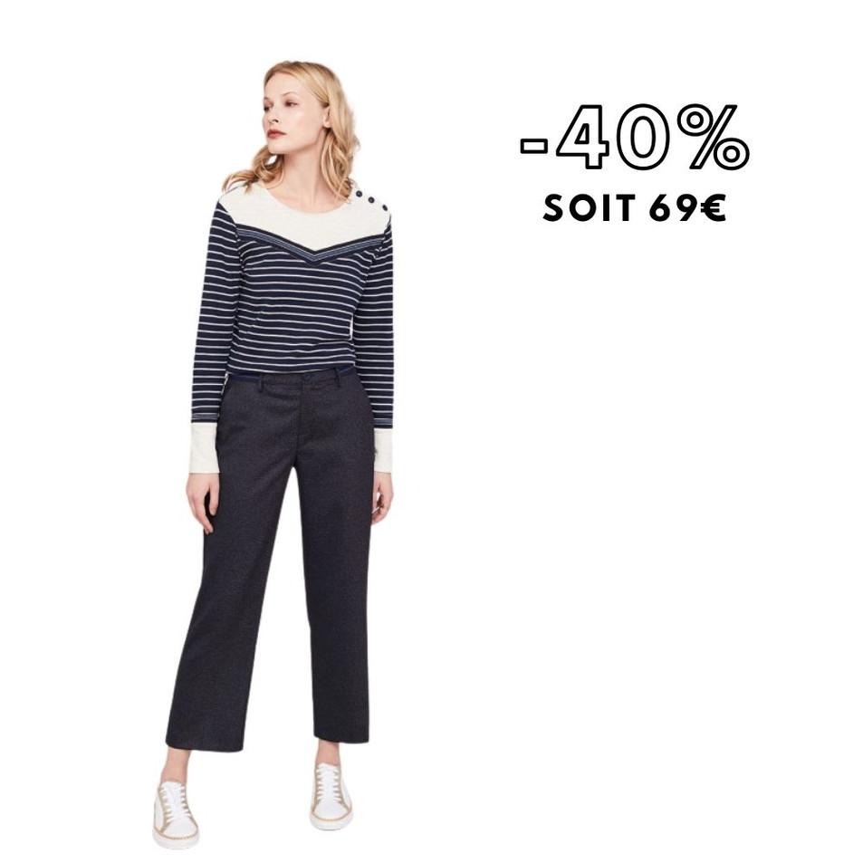 PACEY - Pantalon marine à motifs minimalistes