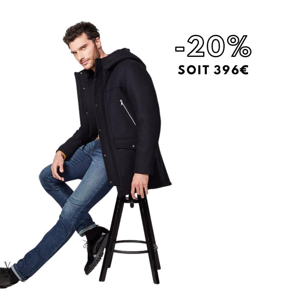 Duffle-coat marine multi-poches Homme