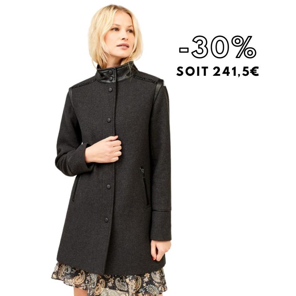 DIMITRY - Manteau anthracite avec ganses perlées