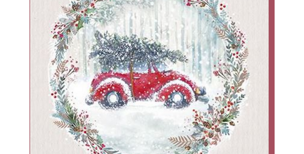 Beetle car with tree on roof in snowy scene & encircled by holly wreath with to a brilliant nephew with love at christmas