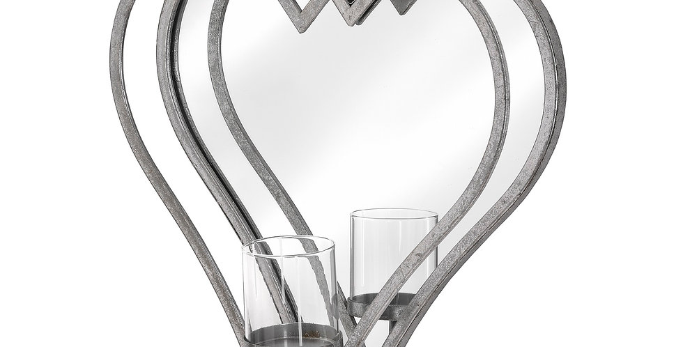 Large Antique Silver Mirrored Heart Candle Holder