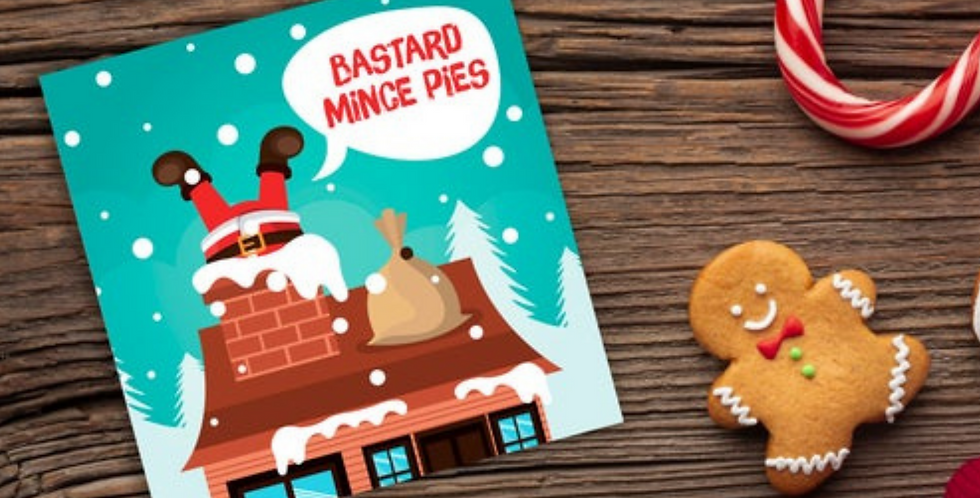 funny christmas card with santa stuck in chimney and wording bastard mince pies