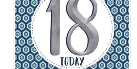 18th Birthday park blue pattern and silver number 18