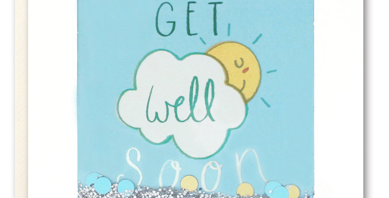 Shakie confetti card blue sky with sun poking out from behind cloud with get well soon message