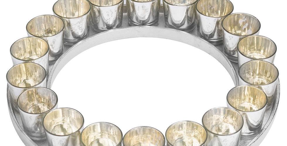 Large Circular Cast Aluminium Votive Tray With Mercury Glass