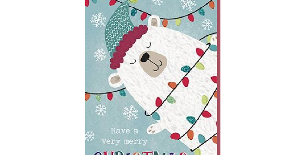 Uncle christmas card with cute polar bear cartoon & fairy lights & words Uncle have a very merry christmas & a happy new year
