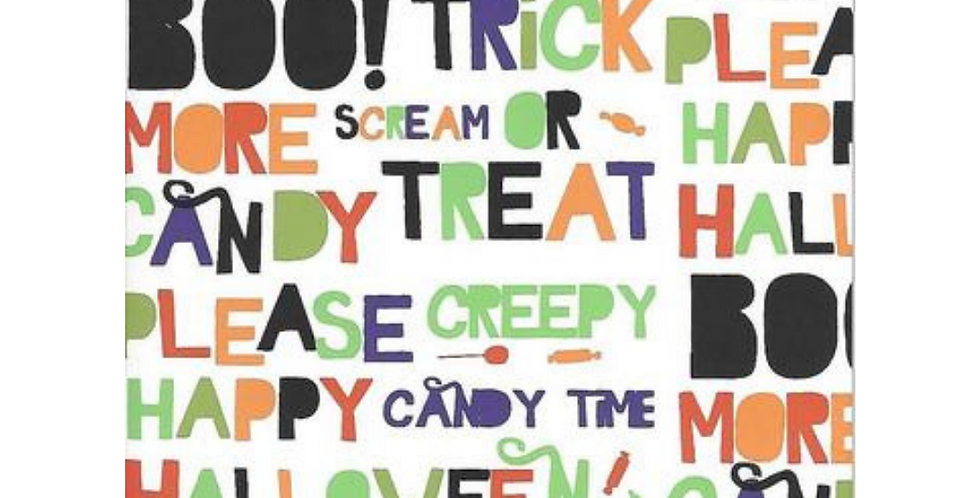 Halloween card featuring various halloween words in black, orange, green and red letters