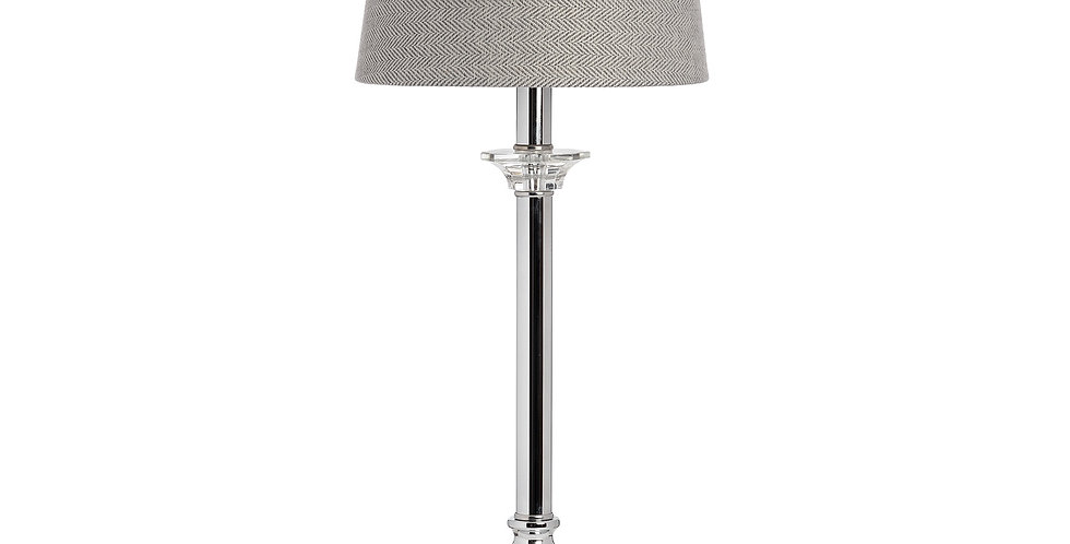 sleek silver stemmed table lamp with grey lampshade