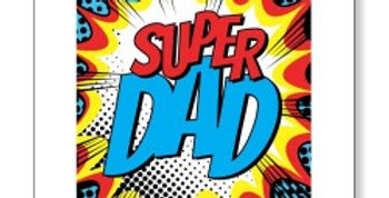 Birthday card for Dad Fathers day card with Marvel style burst with Super Dad message