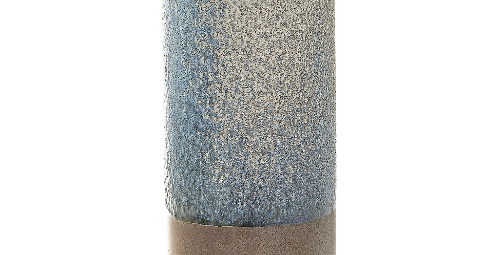 This lovely multi-colouredstoneware vase with brown natural base and grey/green mottled top