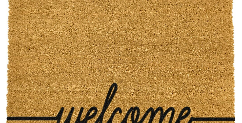 coir doormat with welcome in black at bottom edge