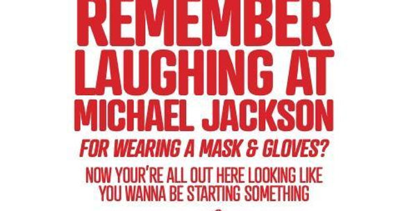christmas card red/white striped border with words remember laughing at michael jackson for wearing a mask?