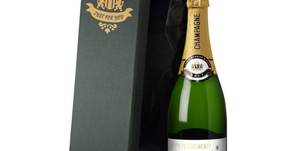personalised champagne retirement gift with chilli cartoon character on label