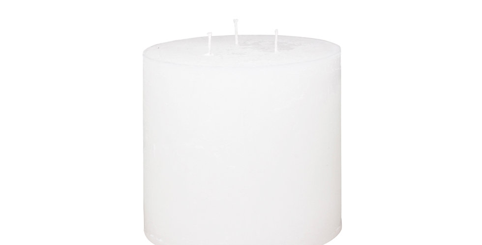 Three wick white coloured rustic style candle. Burn time 80 hours.