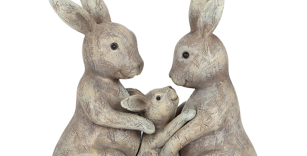 Ornament Featuring Two Grey Adult Bunnies On Either Side of a Grey Baby Bunny.