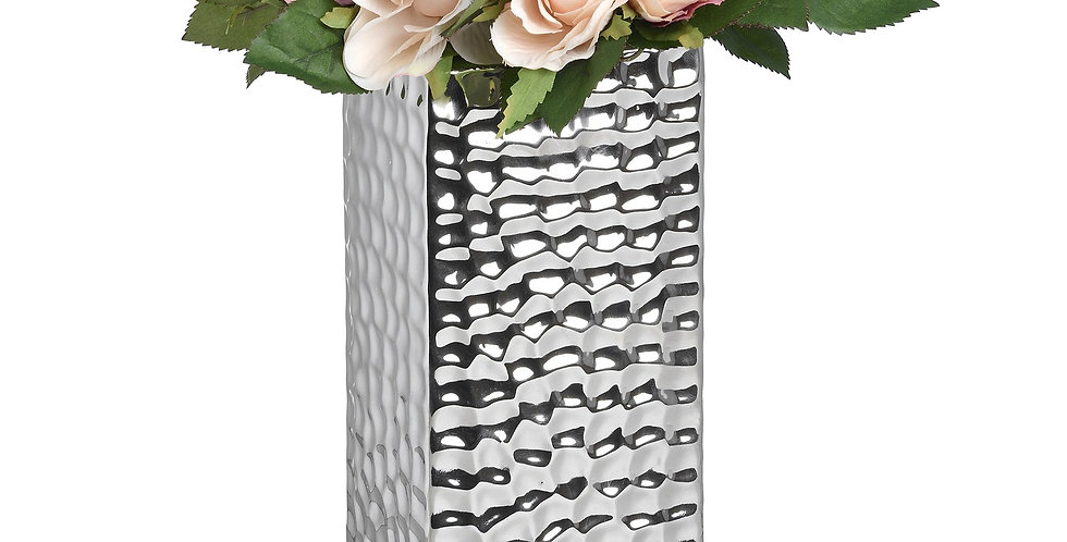 tall square vase with silver dimple effect