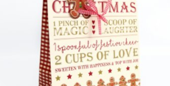 Christmas gift bag with gingerbread men and gingerbread recipe