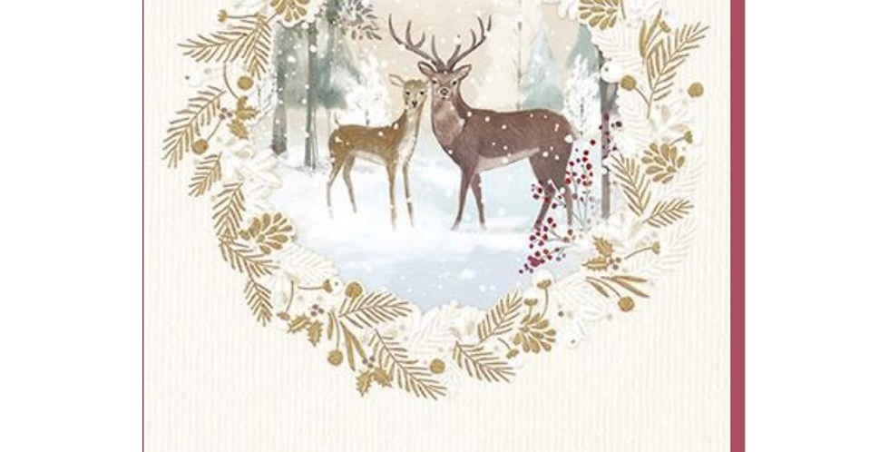 Snowy forest with two reindeer with words to a special mum & dad thoughts of you both all filled with love at christmas &
