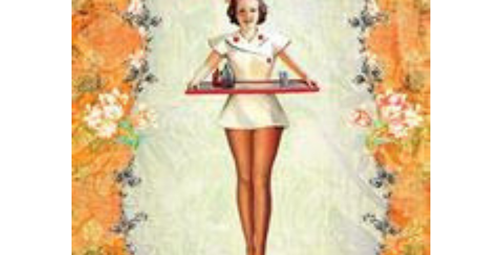 Floral vintage border with nurse holding a tray within. Get well soon message .