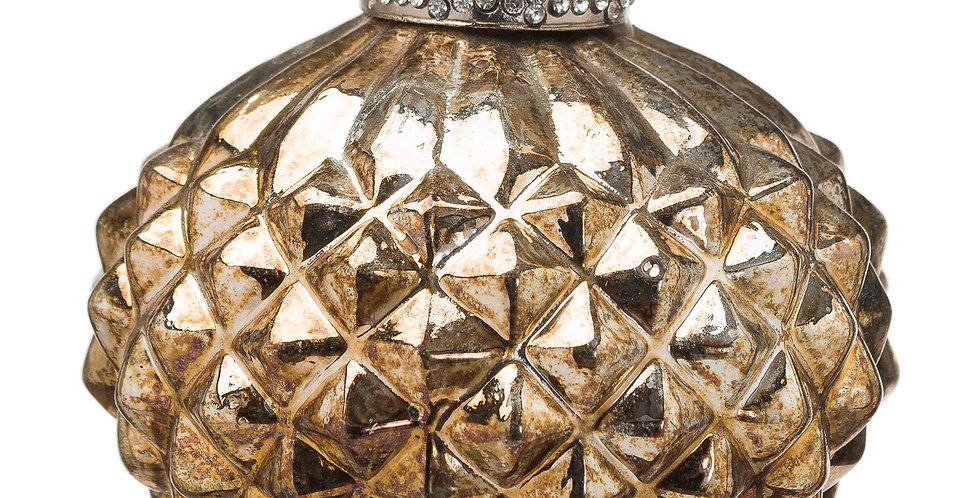 burnished gold onion shaped bauble with raised pyramid pattern texture