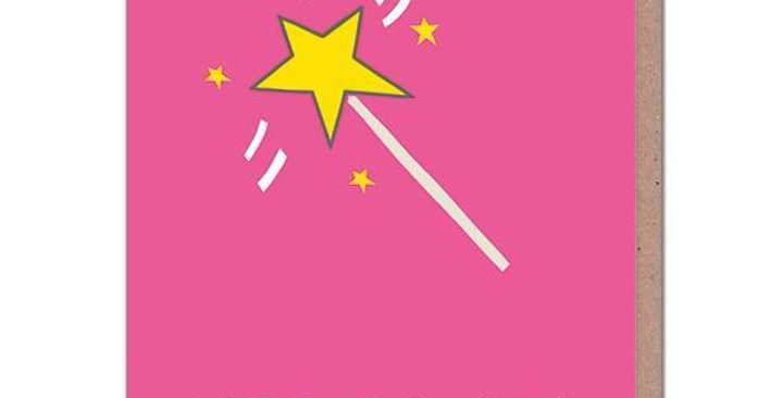 Pink Birthday Card with a fairy wand saying Birthday swishes