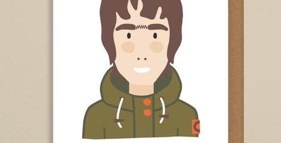 Birthday card with Liam Gallagher saying happy Birthday R Kid