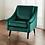 emerald green velvet formal armchair