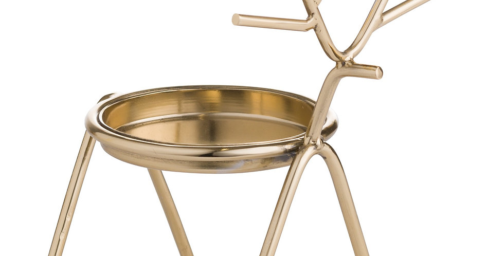 stick reindeer candle holder available in 2 colours gold and silver and two sizes