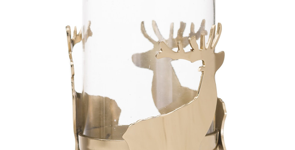 gold hurricane lantern with festive stag metal embellishment