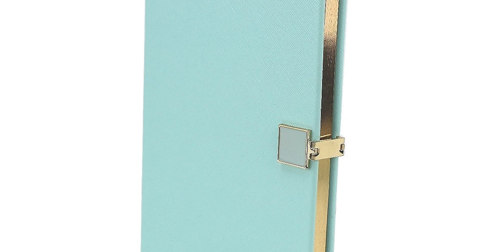 Mint green notebook, A5 size with gold edging to pages