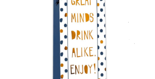 Gift bottle bag white with gold and navy blue dots, blue sides, gold gift tag, words Great Minds Drink Alike Enjoy!