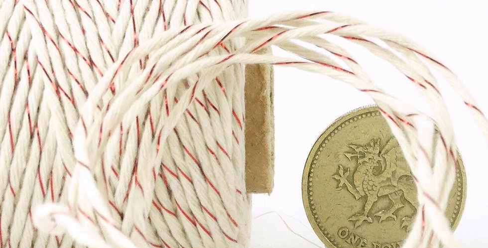 Cream & Red Shimmer Metallic 12ply Cotton Bakers Twine 10m