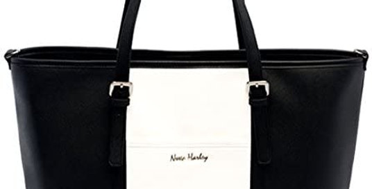 luxury baby changing bag with stylish black and white design