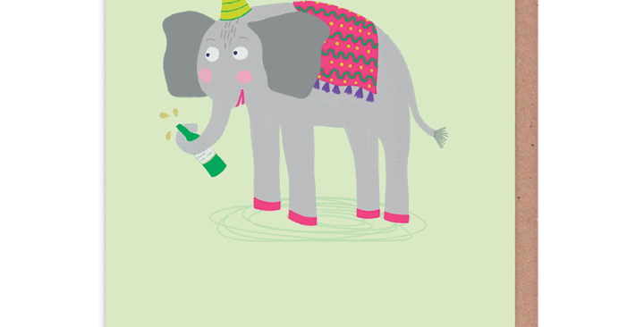 Funny birthday card with an elephant wearing a party hat and saying Let's Get Trunk
