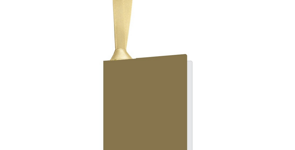 Gold gift tag with gold ribbon