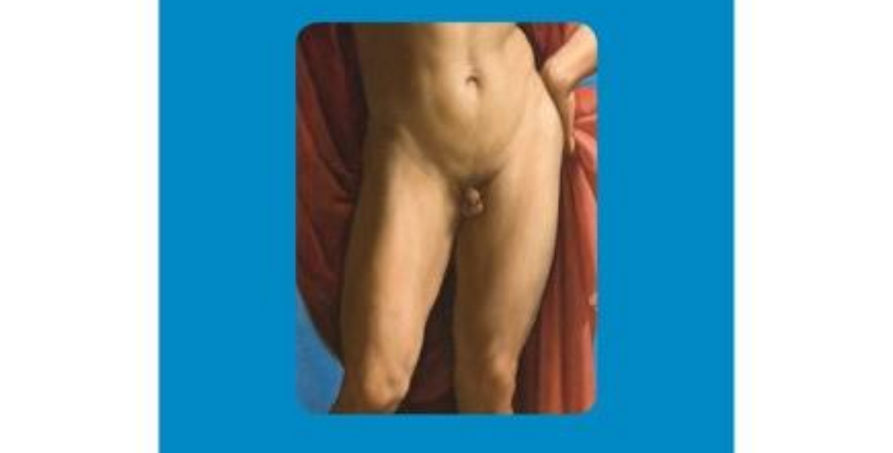 Funny birthday card with blue background and Raphaelite pic of man with small willy and words I saw this and thought of you.