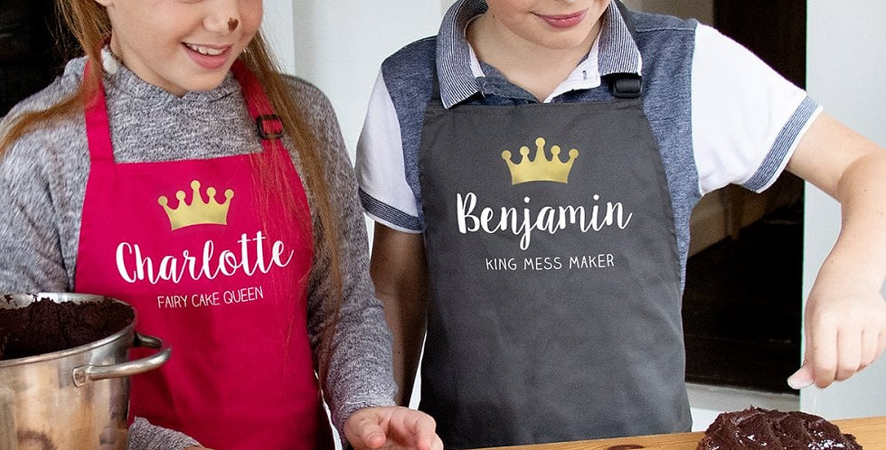 personalised child's crown apron