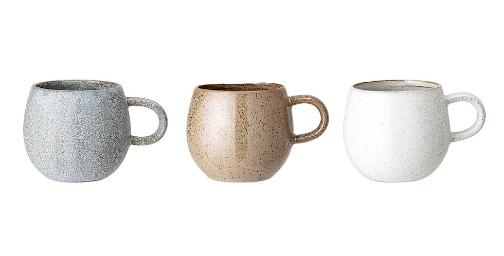 Set of 3 stoneware mugs in light blue, light brown and cream